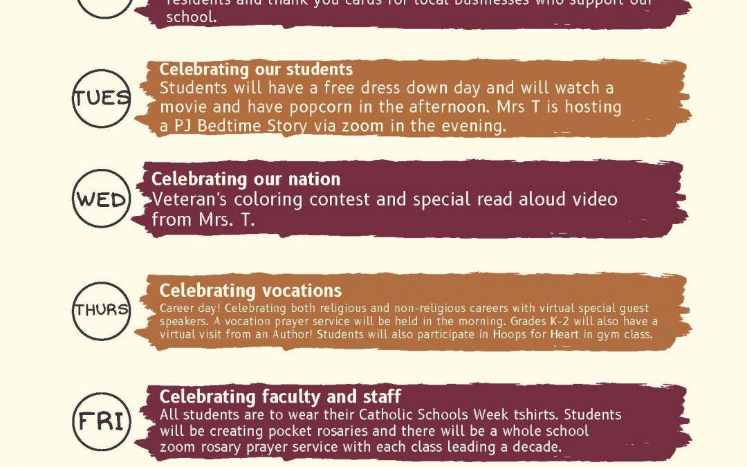 St John Paul II Catholic Schools Week Schedule